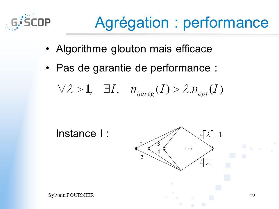 Sylvain FOURNIER 49 Agrégation : performance Algorithme glouton mais efficace Pas de garantie de performance : Instance I : … 1 2 3 4