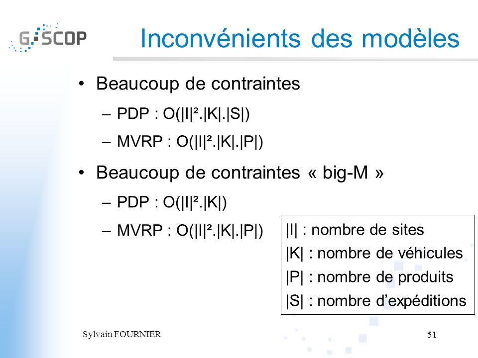 Sylvain FOURNIER 51 Inconvénients des modèles Beaucoup de contraintes –PDP : O(|I|².|K|.|S|) –MVRP : O(|I|².|K|.|P|) Beaucoup de contraintes « big-M »