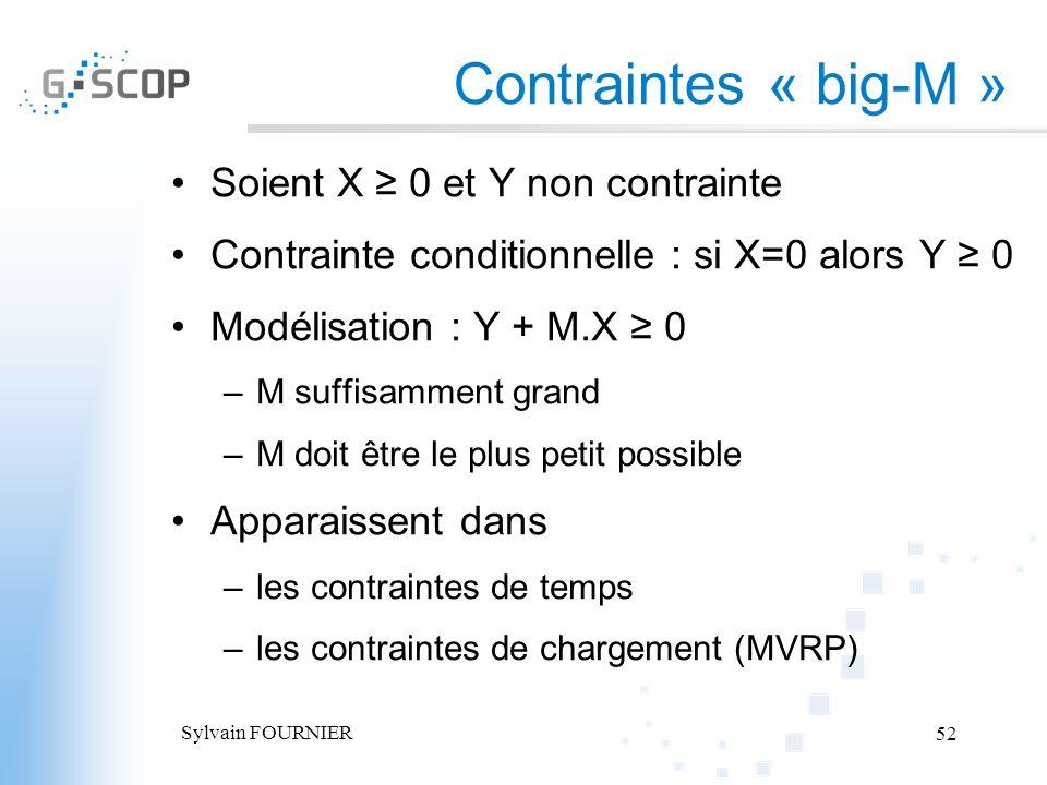 Sylvain FOURNIER 52 Contraintes « big-M » Soient X 0 et Y non contrainte Contrainte conditionnelle : si X=0 alors Y 0 Modélisation : Y + M.X 0 –M suff