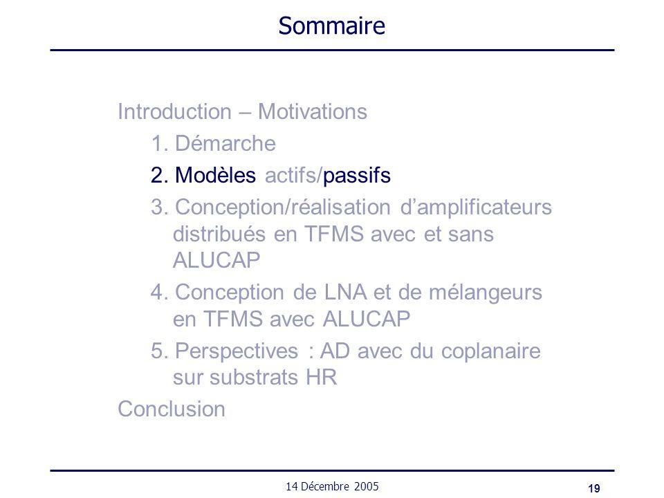 19 14 Décembre 2005 Sommaire Introduction – Motivations 1. Démarche 2. Modèles actifs/passifs 3. Conception/réalisation damplificateurs distribués en