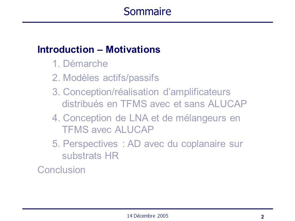 2 14 Décembre 2005 Sommaire Introduction – Motivations 1. Démarche 2. Modèles actifs/passifs 3. Conception/réalisation damplificateurs distribués en T