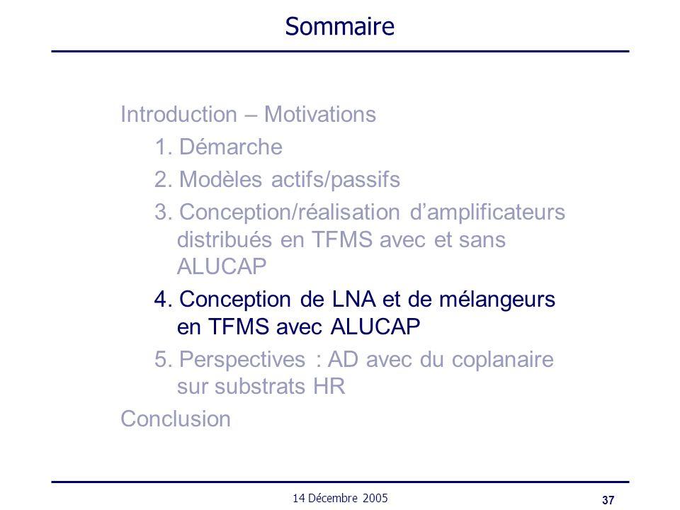 37 14 Décembre 2005 Sommaire Introduction – Motivations 1. Démarche 2. Modèles actifs/passifs 3. Conception/réalisation damplificateurs distribués en