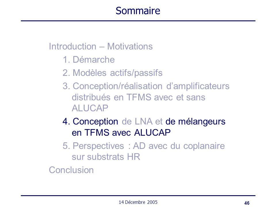 46 14 Décembre 2005 Sommaire Introduction – Motivations 1. Démarche 2. Modèles actifs/passifs 3. Conception/réalisation damplificateurs distribués en