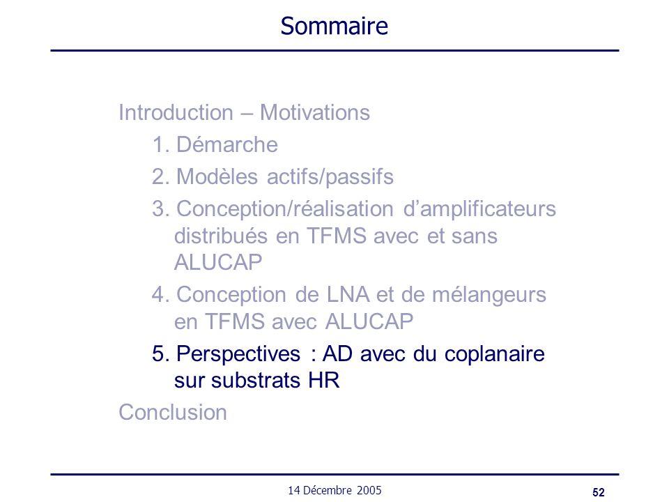 52 14 Décembre 2005 Sommaire Introduction – Motivations 1. Démarche 2. Modèles actifs/passifs 3. Conception/réalisation damplificateurs distribués en