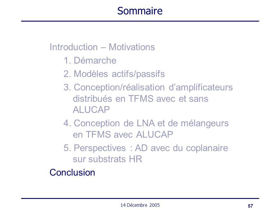 57 14 Décembre 2005 Sommaire Introduction – Motivations 1. Démarche 2. Modèles actifs/passifs 3. Conception/réalisation damplificateurs distribués en