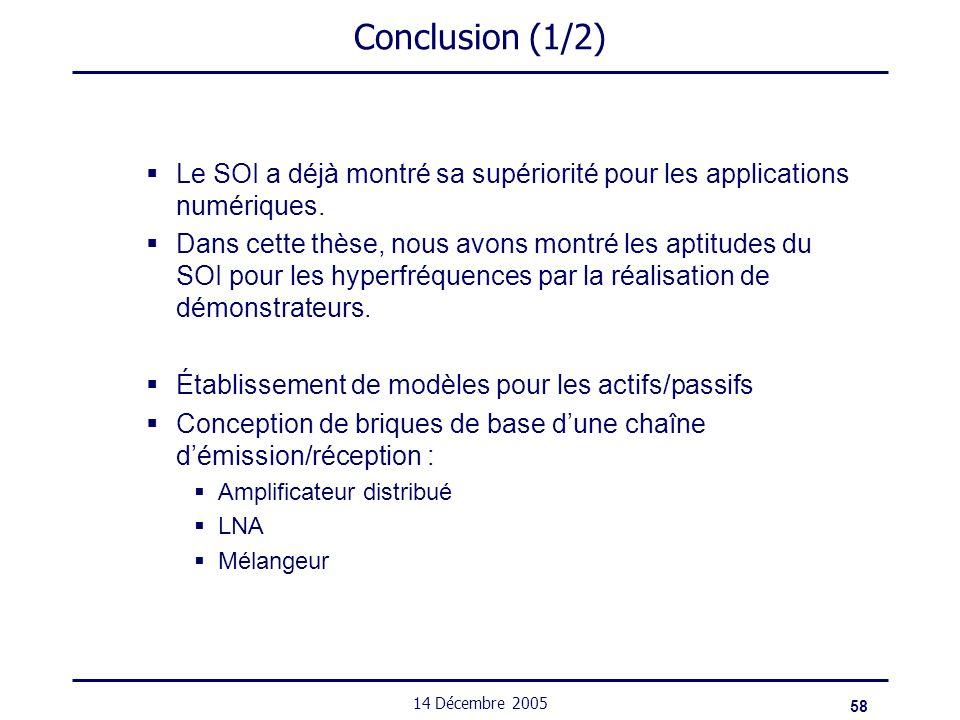 58 14 Décembre 2005 Conclusion (1/2) Le SOI a déjà montré sa supériorité pour les applications numériques. Dans cette thèse, nous avons montré les apt
