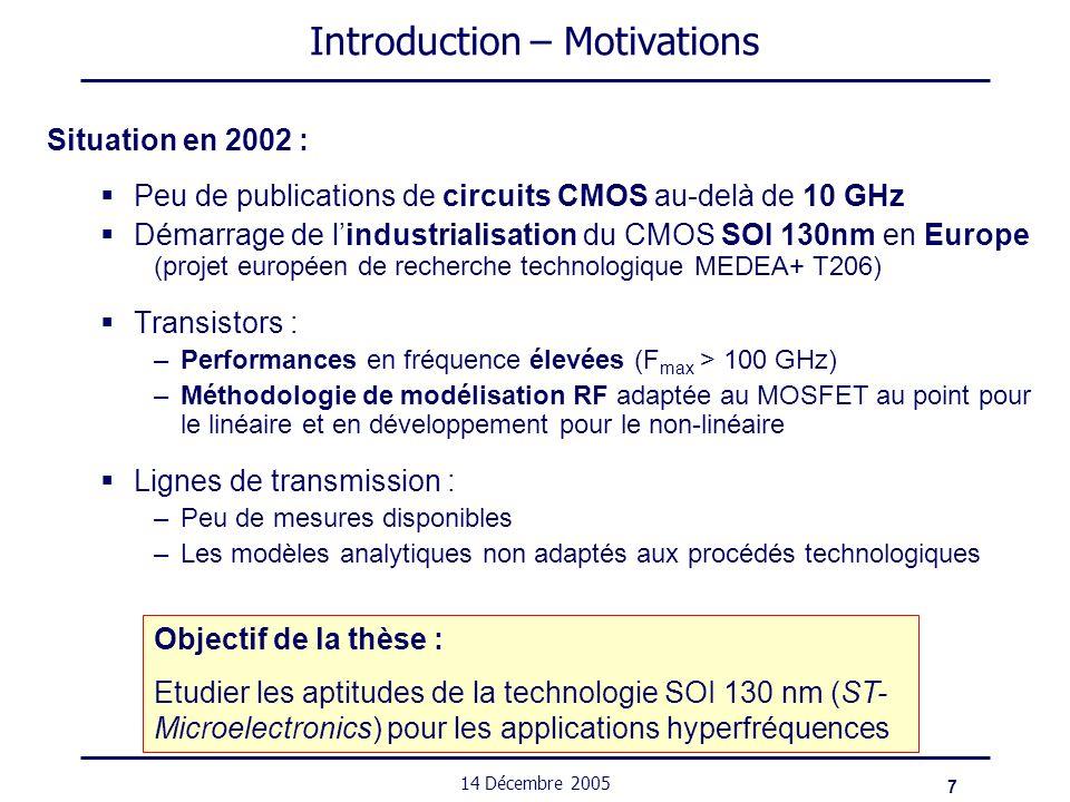 48 14 Décembre 2005 Circuits – Mélangeur à 23 GHz État de lart des mélangeurs cascodes RéférenceF t /F max [GHz]F RF /F OL [GHz]G c [dB]P OL [dBm]IMD3[dBc]P DC [mW] 0,5µm AsGa-28.75/25310-- HEMT Hybrid-10/9.78.10 -28.6 (P RF =-20dBm) - 0,2µm pHEMT-27/26.55.40 -34 (P RF =-20dBm) - 0,15µm GaAs pHEMT avec adapt° inter-étage 75/18060/59,3 6,3 2,6 -37 (P RF =-16.1dBm) 15 sans adapt° inter-étage 3,6 -34 (P RF =-16.1dBm) En résumé : Gain de conversion entre 3 et 8 dB P OL de 0 à 10 dBm