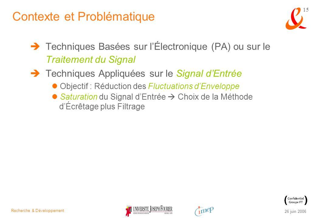 Recherche & Développement 26 juin 2006 15 Techniques Basées sur lÉlectronique (PA) ou sur le Traitement du Signal Techniques Appliquées sur le Signal