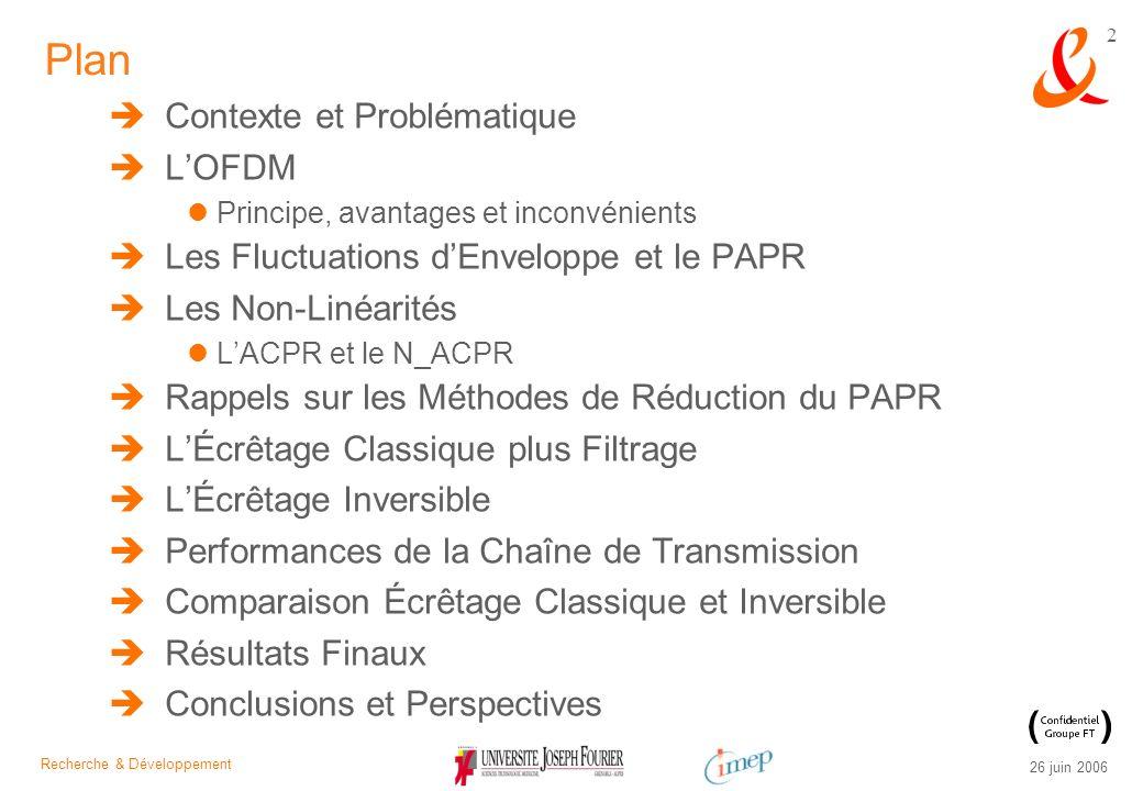 Recherche & Développement 26 juin 2006 43 Le Nouveau Adjacent Channel Power Ratio (N_ACPR) Calcul du N_ACPR = f(a 1, a 3, A, N ) N = 2N quelconque Les Non-Linéarités, lACPR et le N_ACPR Validation par simulation du modèle théorique : les deux résultats sont identiques Formule dinversion