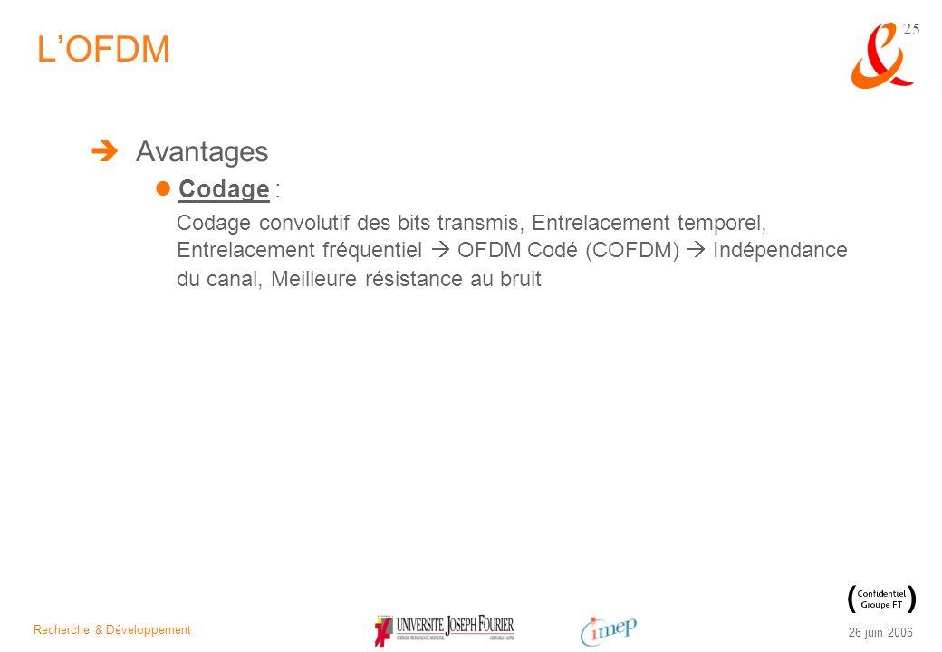 Recherche & Développement 26 juin 2006 25 Avantages Codage : Codage convolutif des bits transmis, Entrelacement temporel, Entrelacement fréquentiel OF