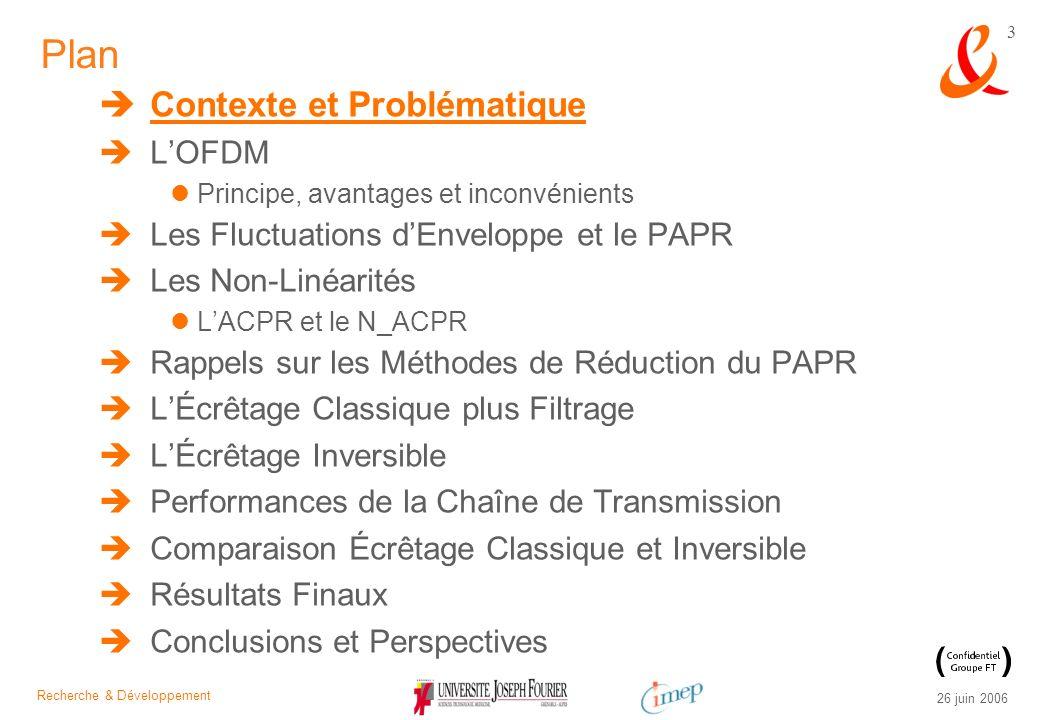 Recherche & Développement 26 juin 2006 3 Plan Contexte et Problématique LOFDM Principe, avantages et inconvénients Les Fluctuations dEnveloppe et le P