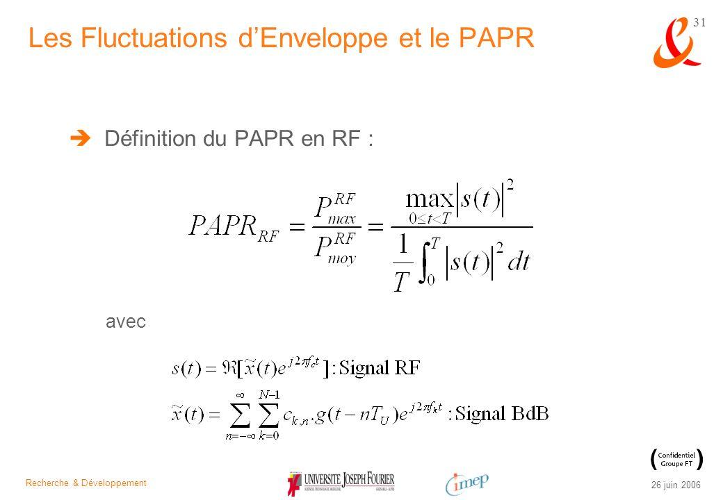 Recherche & Développement 26 juin 2006 31 Les Fluctuations dEnveloppe et le PAPR Définition du PAPR en RF : avec