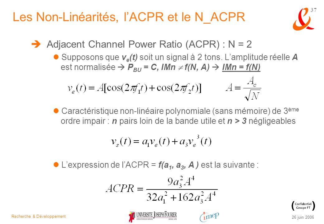 Recherche & Développement 26 juin 2006 37 Adjacent Channel Power Ratio (ACPR) : N = 2 Supposons que v e (t) soit un signal à 2 tons. Lamplitude réelle