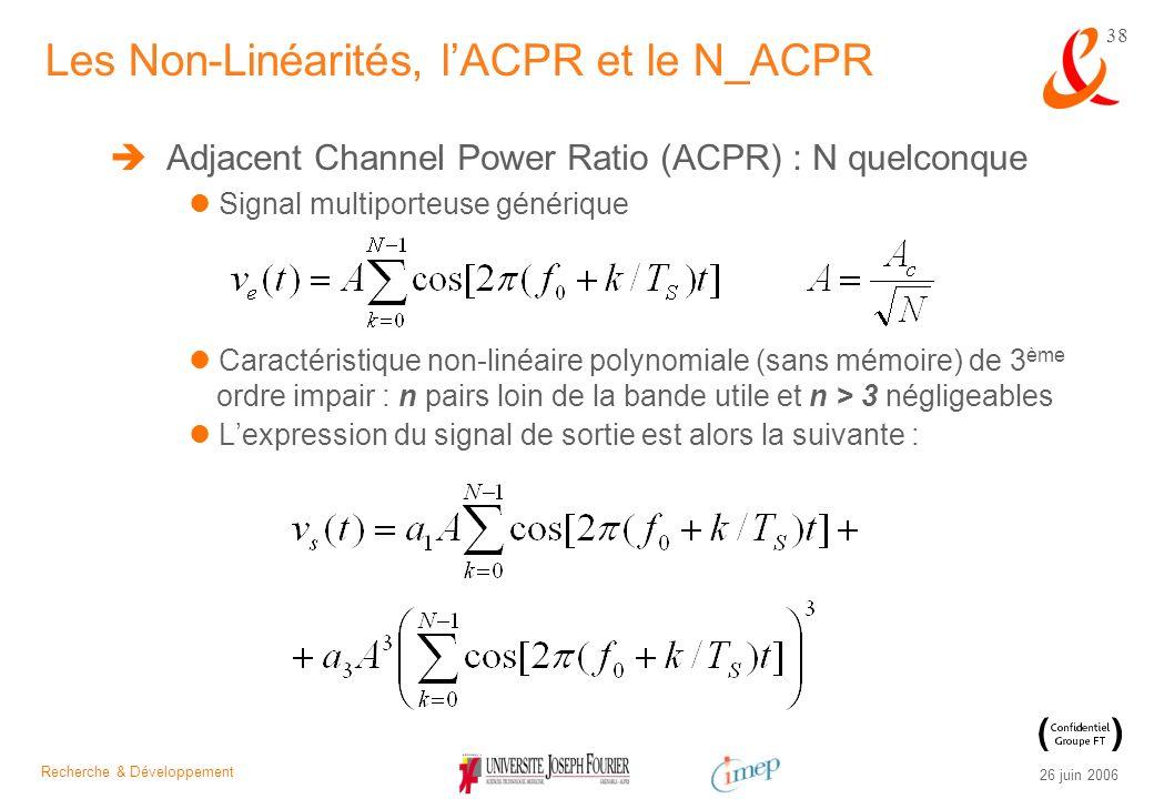 Recherche & Développement 26 juin 2006 38 Adjacent Channel Power Ratio (ACPR) : N quelconque Signal multiporteuse générique Caractéristique non-linéai
