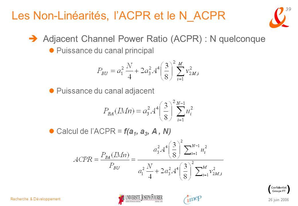 Recherche & Développement 26 juin 2006 39 Adjacent Channel Power Ratio (ACPR) : N quelconque Puissance du canal principal Puissance du canal adjacent