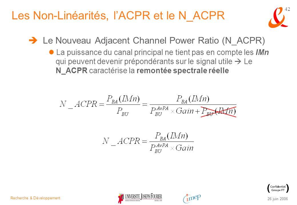 Recherche & Développement 26 juin 2006 42 Le Nouveau Adjacent Channel Power Ratio (N_ACPR) La puissance du canal principal ne tient pas en compte les
