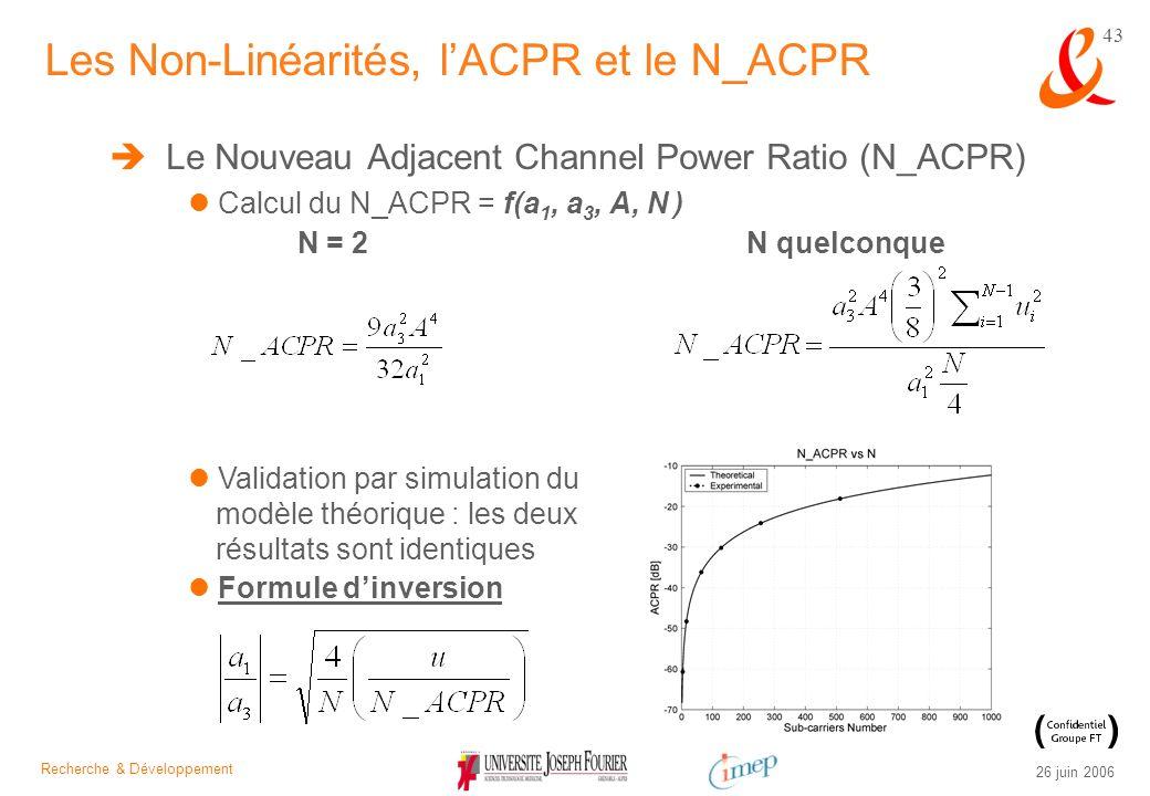 Recherche & Développement 26 juin 2006 43 Le Nouveau Adjacent Channel Power Ratio (N_ACPR) Calcul du N_ACPR = f(a 1, a 3, A, N ) N = 2N quelconque Les