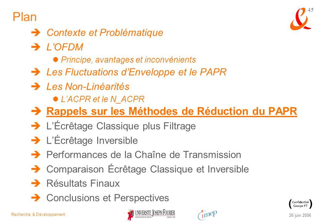 Recherche & Développement 26 juin 2006 45 Plan Contexte et Problématique LOFDM Principe, avantages et inconvénients Les Fluctuations dEnveloppe et le