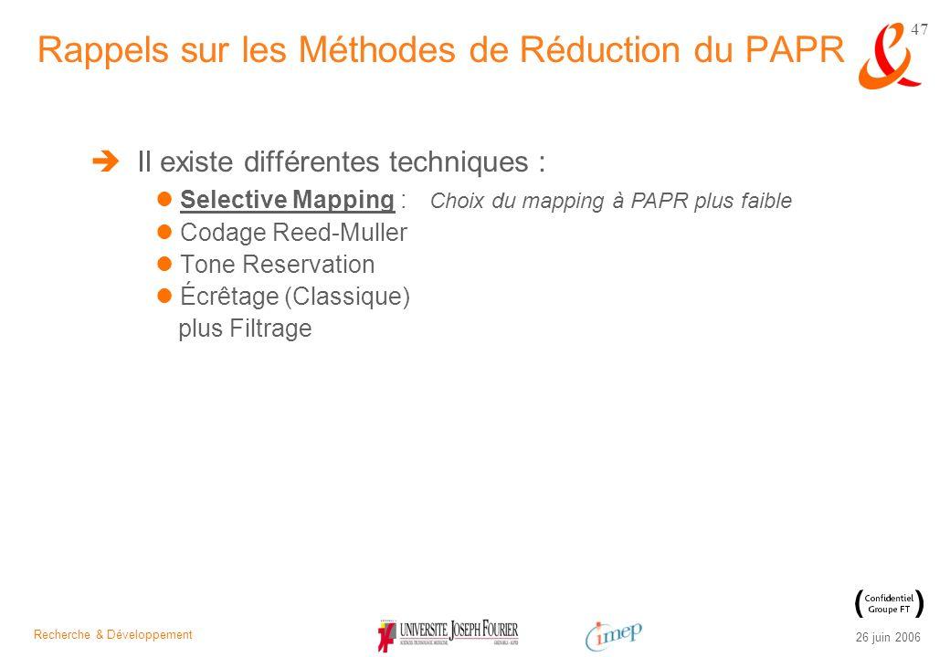 Recherche & Développement 26 juin 2006 47 Il existe différentes techniques : Selective Mapping : Codage Reed-Muller Tone Reservation Écrêtage (Classiq