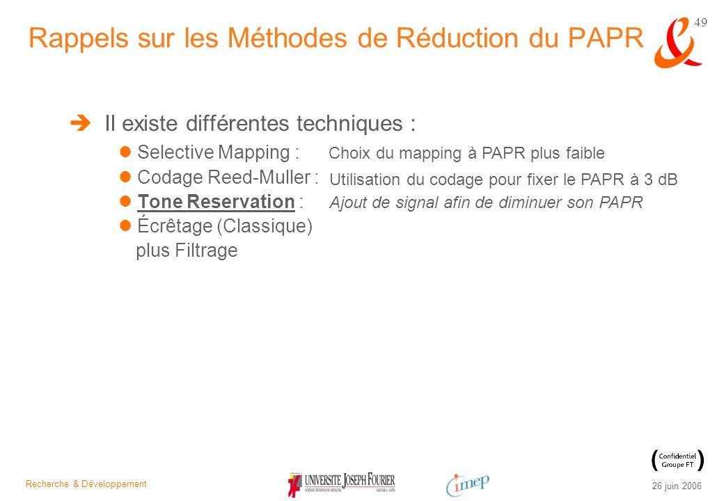 Recherche & Développement 26 juin 2006 49 Il existe différentes techniques : Selective Mapping : Codage Reed-Muller : Tone Reservation : Écrêtage (Cla