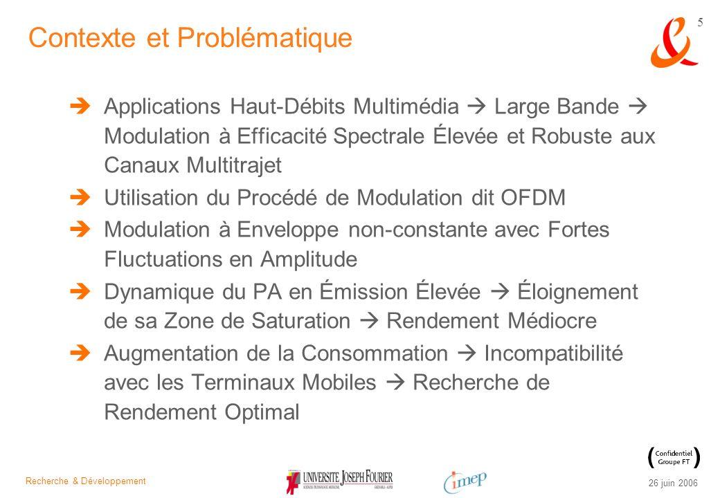 Recherche & Développement 26 juin 2006 26 Inconvénients Sensibilité à la Désynchronisation Émetteur / Récepteur Fluctuations dEnveloppe Importantes LOFDM