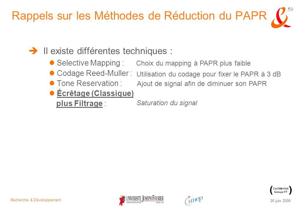 Recherche & Développement 26 juin 2006 50 Il existe différentes techniques : Selective Mapping : Codage Reed-Muller : Tone Reservation : Écrêtage (Cla