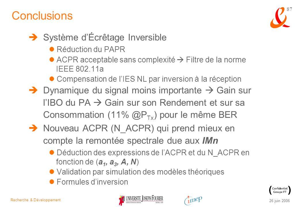 Recherche & Développement 26 juin 2006 87 Système dÉcrêtage Inversible Réduction du PAPR ACPR acceptable sans complexité Filtre de la norme IEEE 802.1