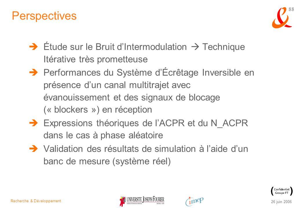 Recherche & Développement 26 juin 2006 88 Étude sur le Bruit dIntermodulation Technique Itérative très prometteuse Performances du Système dÉcrêtage I