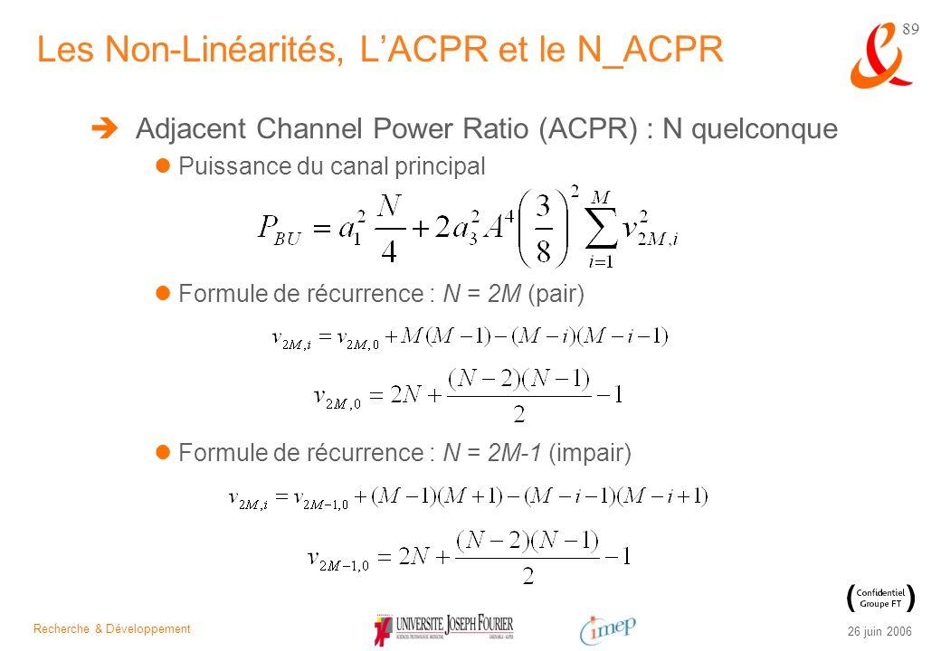Recherche & Développement 26 juin 2006 89 Adjacent Channel Power Ratio (ACPR) : N quelconque Puissance du canal principal Formule de récurrence : N =