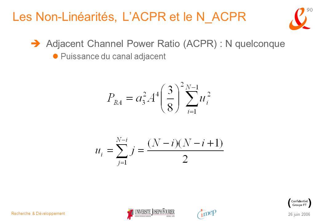 Recherche & Développement 26 juin 2006 90 Adjacent Channel Power Ratio (ACPR) : N quelconque Puissance du canal adjacent Les Non-Linéarités, LACPR et