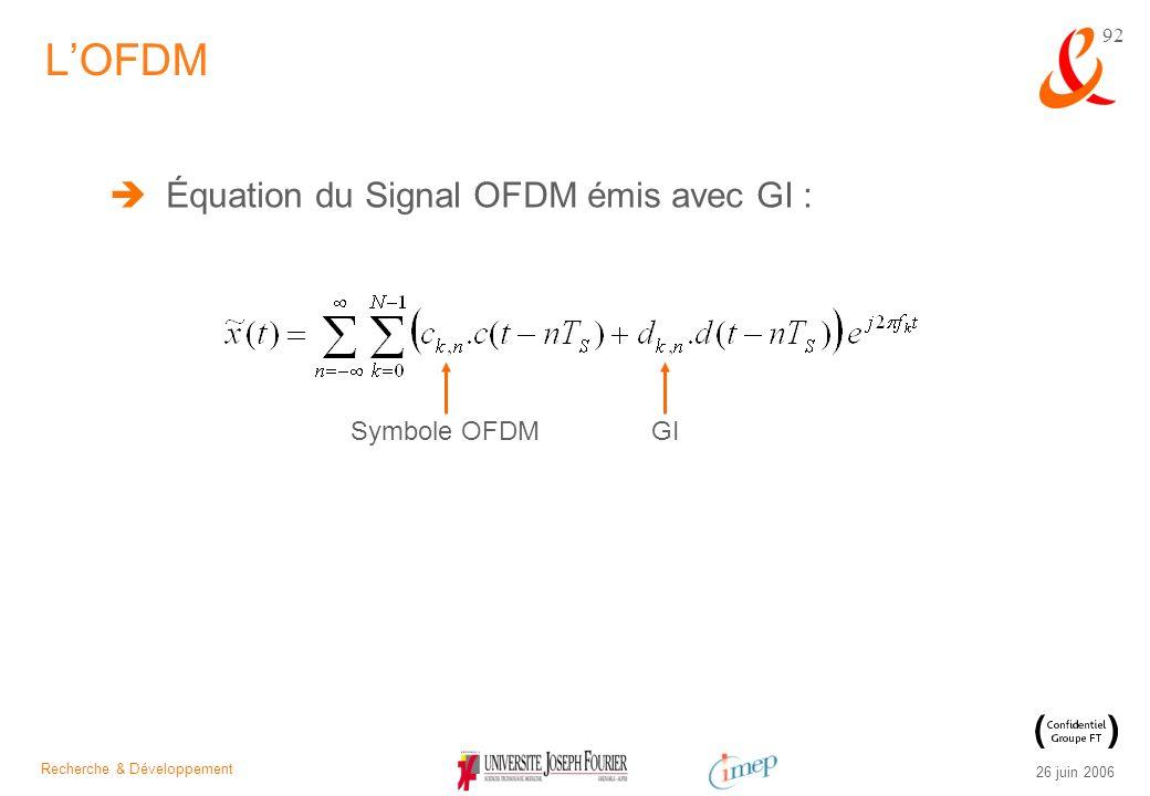 Recherche & Développement 26 juin 2006 92 Équation du Signal OFDM émis avec GI : LOFDM Symbole OFDM GI