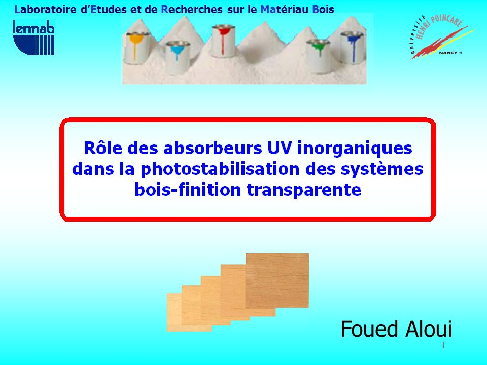 42 Exposition aux rayonnements UV (finition intérieure) Variations des coordonnées chromatiques ( a*, b*) Le bois de chêne seul ne jaunit pas, contrairement aux systèmes dabsorbeurs UV (problème de lessivage des tannins !).