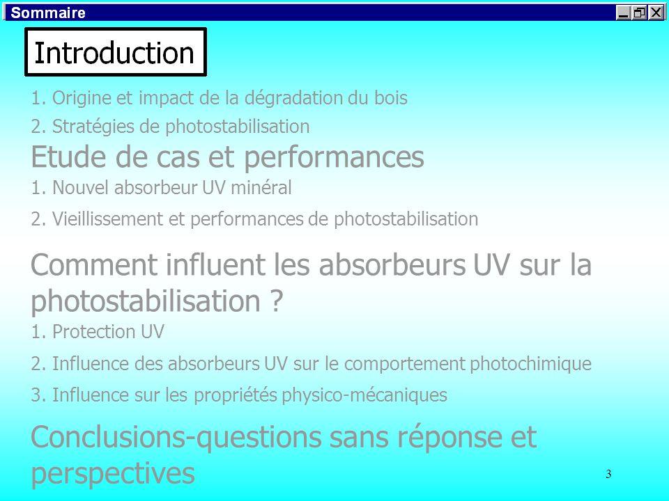 3 1. Origine et impact de la dégradation du bois 2. Stratégies de photostabilisation Introduction Etude de cas et performances Comment influent les ab