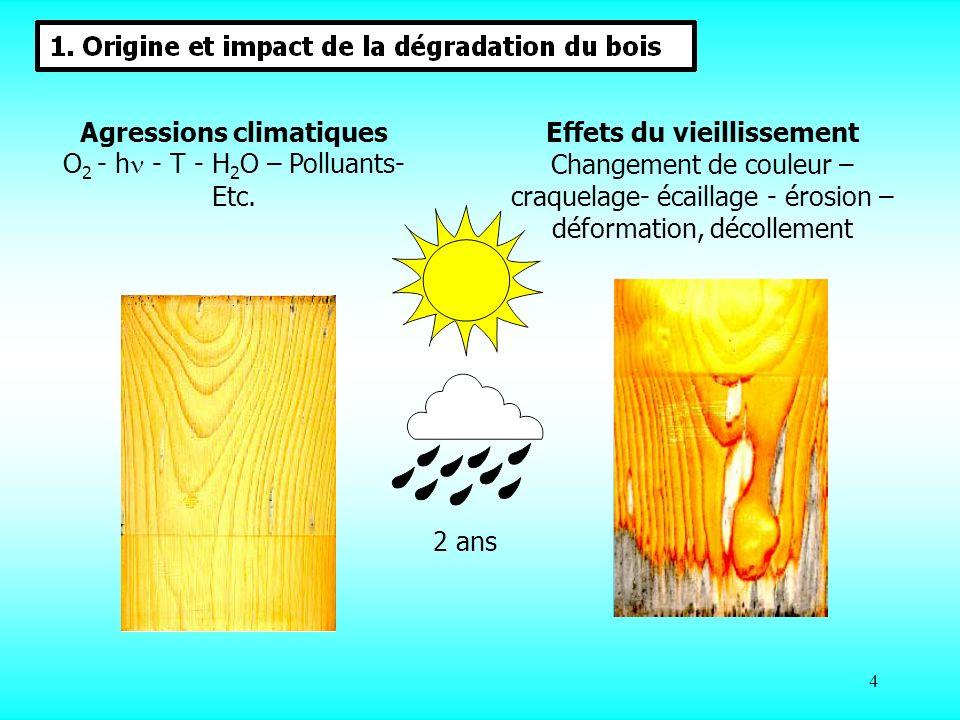 5 Photo-oxydation du bois et de la finition Phénomène dû en grande partie au rayonnement solaire, leau et à loxygène : FORMATION : - radicaux par coupure de chaînes ou transfert de proton - peroxydes et hydroperoxydes par oxydation - réseaux plus réticulés - produits de dégradation colorés et souvent hydrophiles Photodégradation : Comment ?