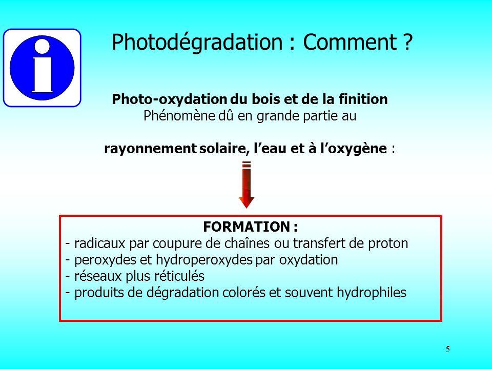 5 Photo-oxydation du bois et de la finition Phénomène dû en grande partie au rayonnement solaire, leau et à loxygène : FORMATION : - radicaux par coup