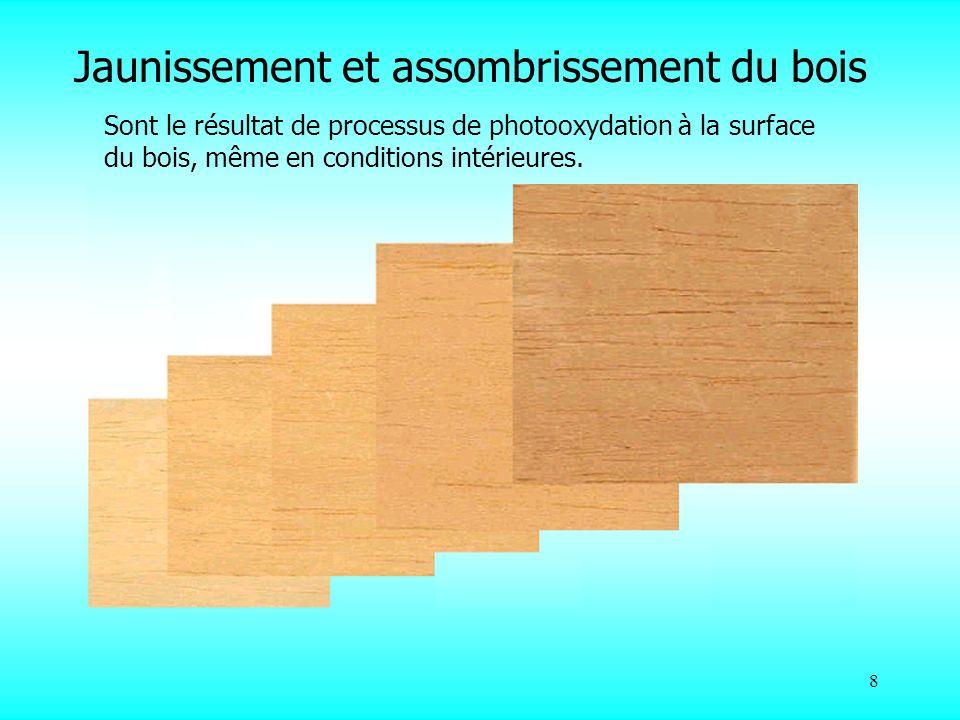 8 Jaunissement et assombrissement du bois Sont le résultat de processus de photooxydation à la surface du bois, même en conditions intérieures.