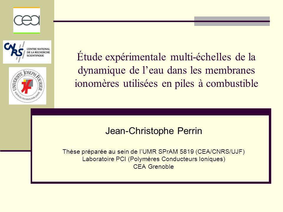 Étude expérimentale multi-échelles de la dynamique de leau dans les membranes ionomères utilisées en piles à combustible Jean-Christophe Perrin Thèse préparée au sein de lUMR SPrAM 5819 (CEA/CNRS/UJF) Laboratoire PCI (Polymères Conducteurs Ioniques) CEA Grenoble