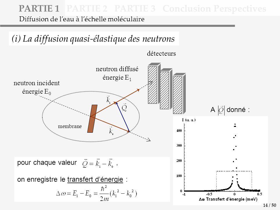 PARTIE 1 PARTIE 2 PARTIE 3 Conclusion Perspectives (i) La diffusion quasi-élastique des neutrons Diffusion de leau à léchelle moléculaire pour chaque valeur, on enregistre le transfert dénergie : neutron incident énergie E 0 détecteurs membrane neutron diffusé énergie E 1 A donné : 14 / 50