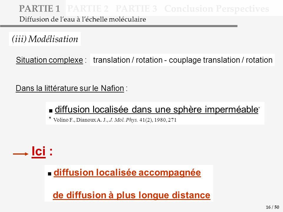 PARTIE 1 PARTIE 2 PARTIE 3 Conclusion Perspectives (iii) Modélisation Diffusion de leau à léchelle moléculaire diffusion localisée accompagnée de diffusion à plus longue distance diffusion localisée dans une sphère imperméable * * Volino F., Dianoux A.