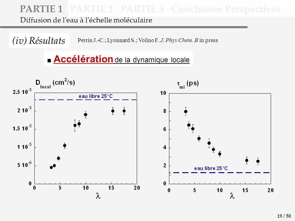PARTIE 1 PARTIE 2 PARTIE 3 Conclusion Perspectives (iv) Résultats Diffusion de leau à léchelle moléculaire Accélération de la dynamique locale 19 / 50 Perrin J.-C.; Lyonnard S.; Volino F.