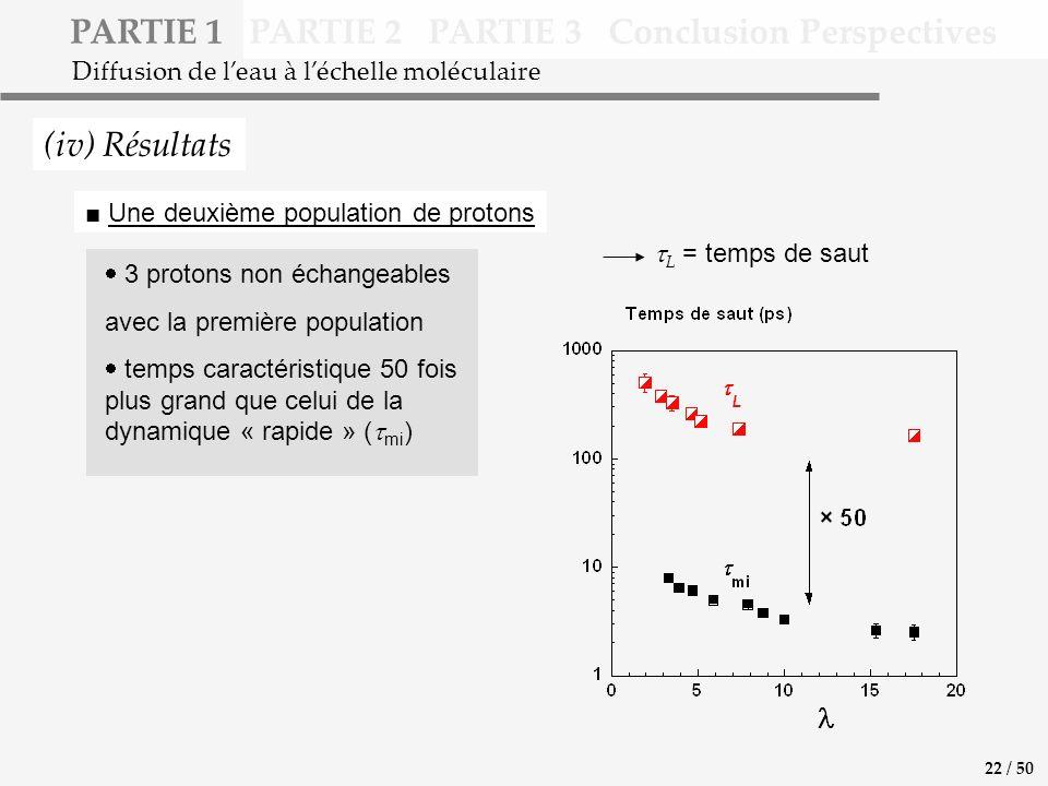 PARTIE 1 PARTIE 2 PARTIE 3 Conclusion Perspectives (iv) Résultats Diffusion de leau à léchelle moléculaire 3 protons non échangeables avec la première population temps caractéristique 50 fois plus grand que celui de la dynamique « rapide » ( mi ) L = temps de saut Une deuxième population de protons 22 / 50