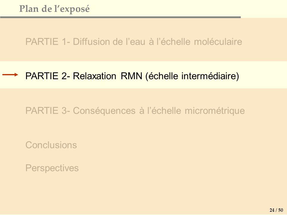 Plan de lexposé PARTIE 1- Diffusion de leau à léchelle moléculaire PARTIE 2- Relaxation RMN (échelle intermédiaire) PARTIE 3- Conséquences à léchelle micrométrique Conclusions Perspectives 24 / 50