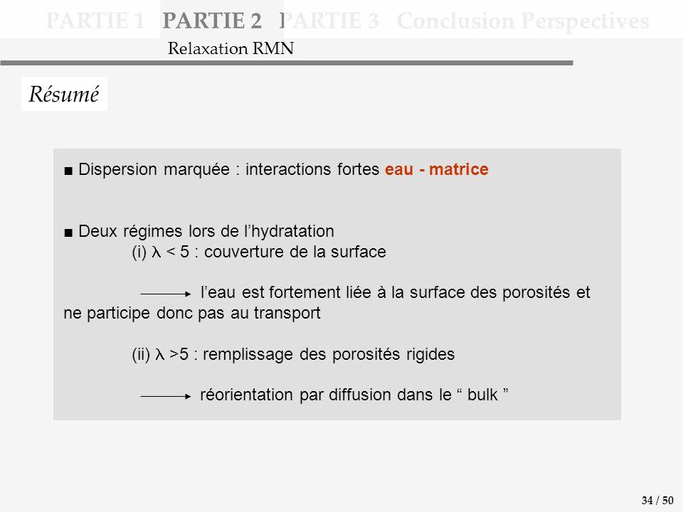 Dispersion marquée : interactions fortes eau - matrice Deux régimes lors de lhydratation (i) < 5 : couverture de la surface leau est fortement liée à la surface des porosités et ne participe donc pas au transport (ii) >5 : remplissage des porosités rigides réorientation par diffusion dans le bulk PARTIE 1 PARTIE 2 PARTIE 3 Conclusion Perspectives Résumé Relaxation RMN 34 / 50