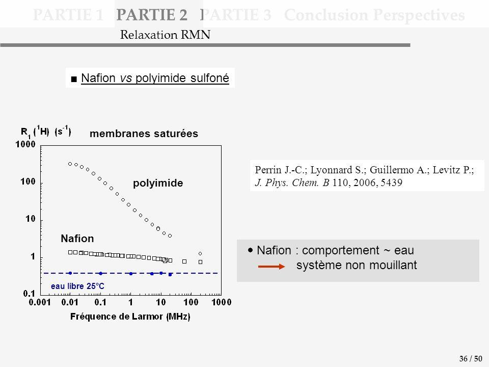 PARTIE 1 PARTIE 2 PARTIE 3 Conclusion Perspectives Nafion vs polyimide sulfoné Nafion : comportement ~ eau système non mouillant Relaxation RMN 36 / 50 Perrin J.-C.; Lyonnard S.; Guillermo A.; Levitz P.; J.