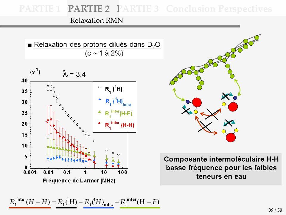 PARTIE 1 PARTIE 2 PARTIE 3 Conclusion Perspectives Relaxation des protons dilués dans D 2 O (c ~ 1 à 2%) = 3.4 Relaxation RMN 39 / 50 Composante intermoléculaire H-H basse fréquence pour les faibles teneurs en eau