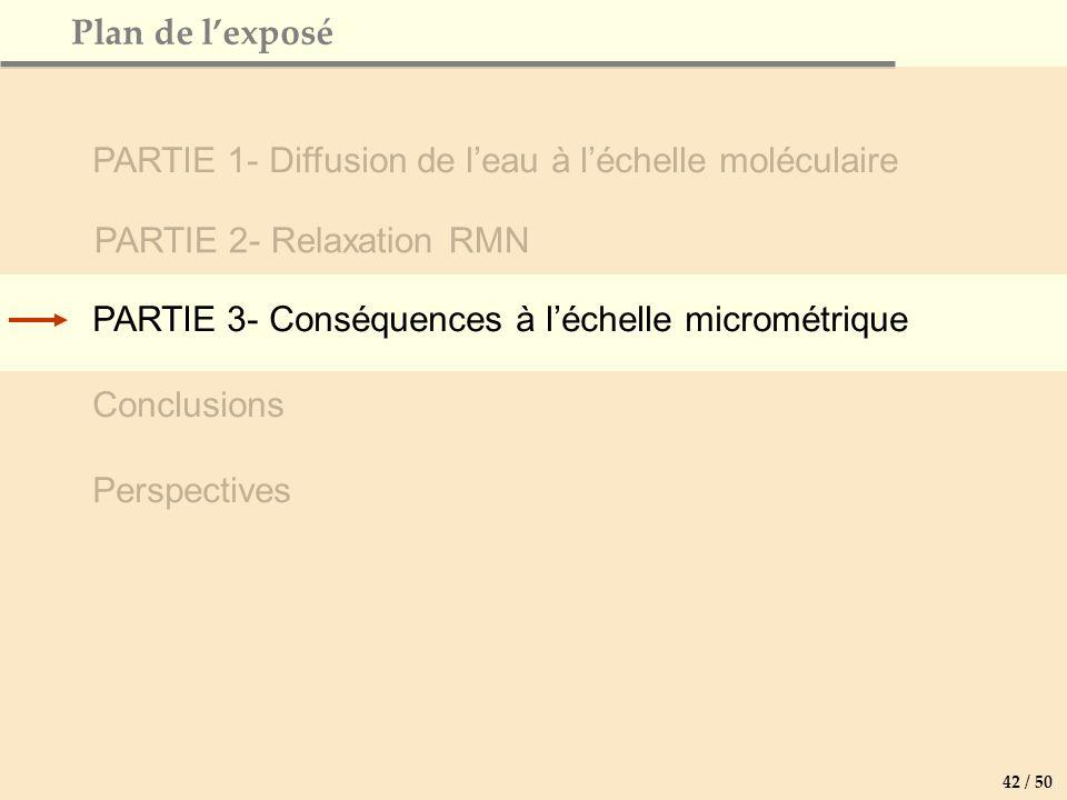 PARTIE 3- Conséquences à léchelle micrométrique Conclusions Perspectives Plan de lexposé PARTIE 2- Relaxation RMN PARTIE 1- Diffusion de leau à léchelle moléculaire 42 / 50
