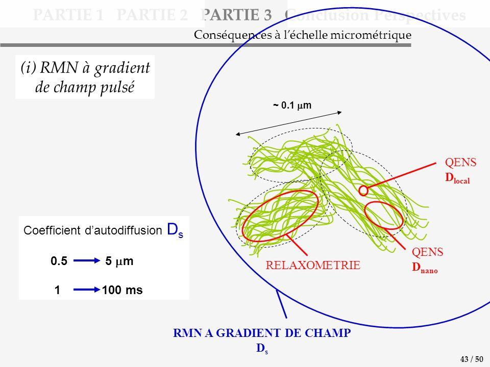 PARTIE 1 PARTIE 2 PARTIE 3 Conclusion Perspectives (i) RMN à gradient de champ pulsé Conséquences à léchelle micrométrique Coefficient dautodiffusion D s 0.5 5 m 1 100 ms RMN A GRADIENT DE CHAMP D s ~ 0.1 m QENS D local QENS D nano RELAXOMETRIE 43 / 50