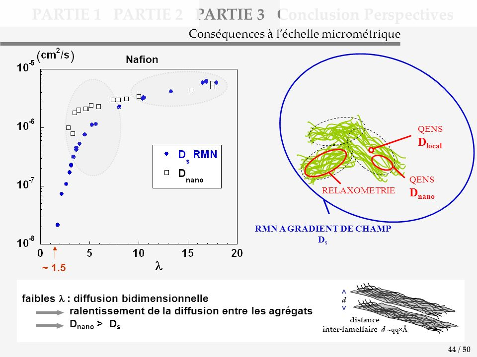 distance inter-lamellaire d qq×Å d < > faibles : diffusion bidimensionnelle ralentissement de la diffusion entre les agrégats D nano > D s ( ) PARTIE 1 PARTIE 2 PARTIE 3 Conclusion Perspectives Conséquences à léchelle micrométrique 44 / 50 ~ 1.5 RMN A GRADIENT DE CHAMP D s QENS D local QENS D nano RELAXOMETRIE Nafion