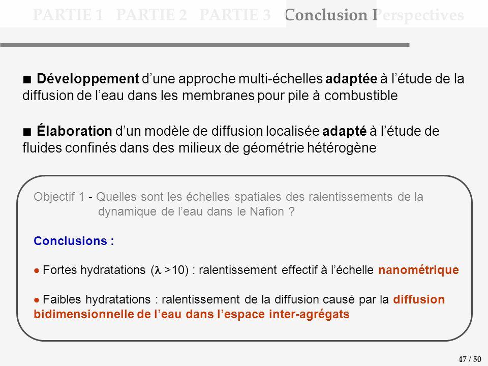 PARTIE 1 PARTIE 2 PARTIE 3 Conclusion Perspectives 47 / 50 Développement dune approche multi-échelles adaptée à létude de la diffusion de leau dans le