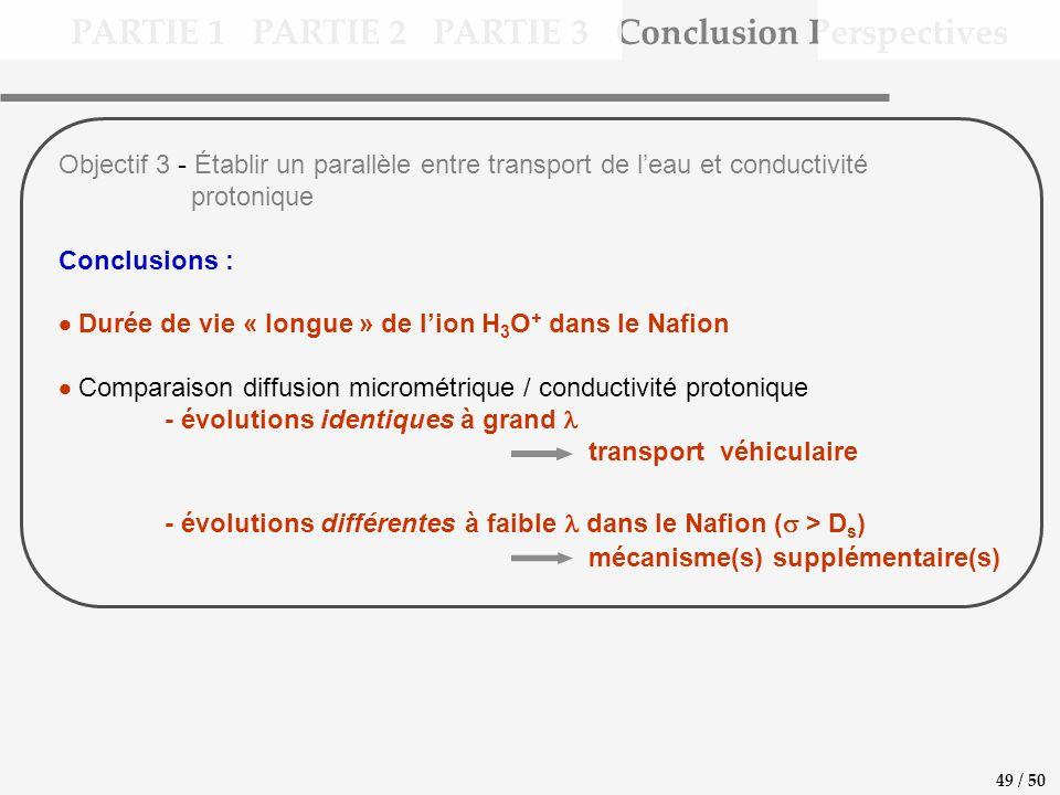PARTIE 1 PARTIE 2 PARTIE 3 Conclusion Perspectives 49 / 50 Objectif 3 - Établir un parallèle entre transport de leau et conductivité protonique Conclusions : Durée de vie « longue » de lion H 3 O + dans le Nafion Comparaison diffusion micrométrique / conductivité protonique - évolutions identiques à grand transport véhiculaire - évolutions différentes à faible dans le Nafion ( > D s ) mécanisme(s) supplémentaire(s)
